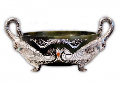 s-62. <br>  Bowl «Akky». <br>  930 silver. 892.54  grams. Natural Jade. Turquoise and Kahalong.                               Carnelian. FIAN. Height 16cm.