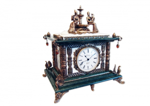 s-284. <br>   Clock «The girls at the fountain». <br>   Bronze. Marble. Natural Jasper and Carnelian. Height 37 cm