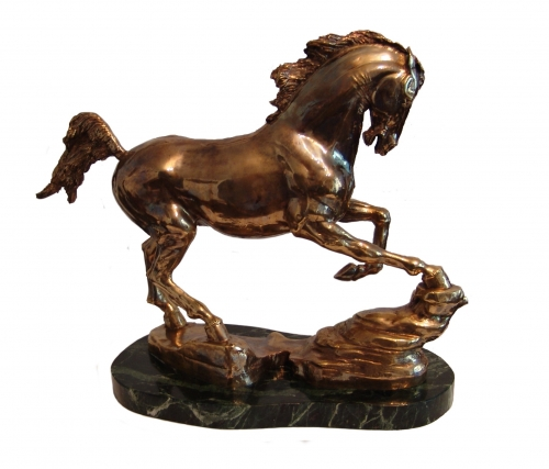 s-316<br> Spirit of the steppes <br> Bronze (hot casting), patina, stand - marble. <br> H - 29 cm, L - 37 cm, W - 16 cm.