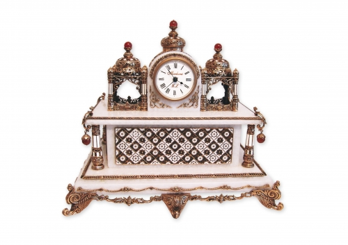 S- 319 <br> Clock towers.<br>  Height 27 cm. Bronze, marble, natural carnelian, enamel, Germany clock mechanism