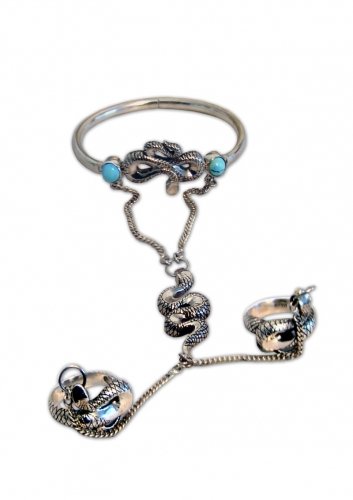 A-9.   <br>  Blezik «Snake». <br> 925 silver. Natural Turquoise.