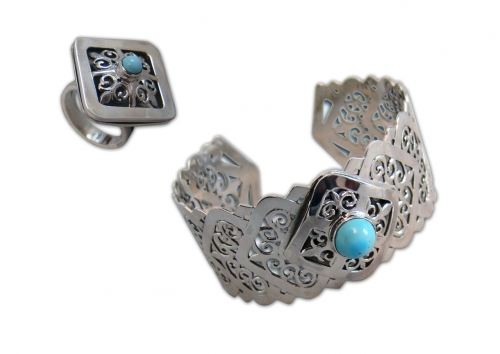A-194.       <br>                                             Kit. <br> 925 silver. Natural Turquoise.