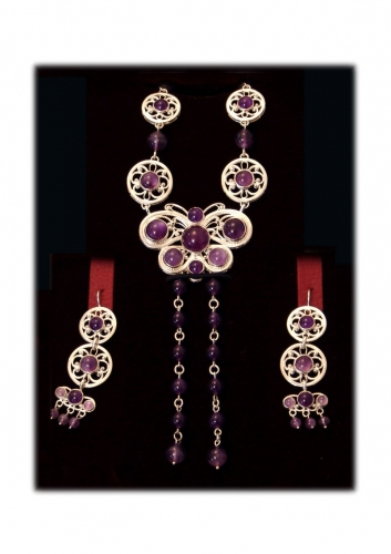 A-61.      <br>                            Kit. <br> 925 silver. Natural Amethyst.