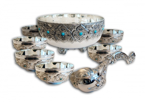 s-296.    <br>      Koumiss set. <br>  925 silver. 4000 grams. Natural Turquoise.