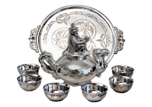 s-36.       <br>                   Tea set «Nomad».   <br>  925 silver. 1845 grams, natural mammoth tusk.