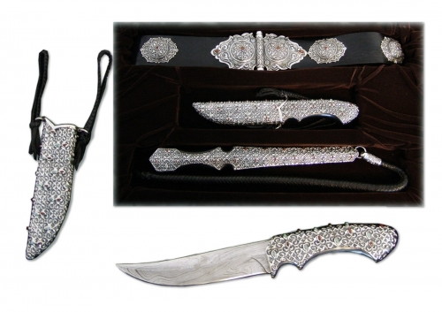 s-249.	<br>  Khan's belt, knife, whip. <br>  925 silver. 1302 grams. Natural Carnelian. Chrysoprase. Leather and  Damascus steel.