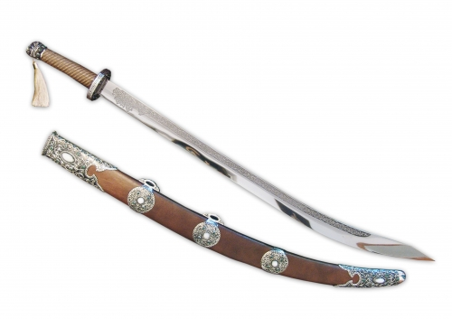 S-340. <br> Sword. <br>  925 silver, 788 grams. Steel. Natural jade, natural cacholong, natural walnut tree. Length 97 cm.
