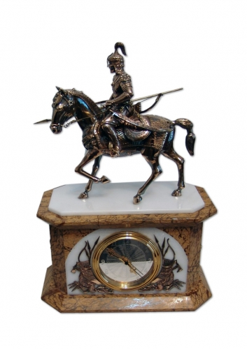 s-246. <br>  Clock «Horseman Batyr». <br>  Bronze. Marble.  Natural Stone tree. Height 37 cm.