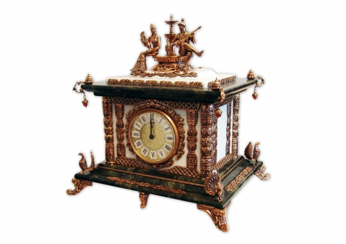 S - 324 <br>Clock <br> Height 34 cm. Bronze, marble, natural carnelian, Germany clock mechanism