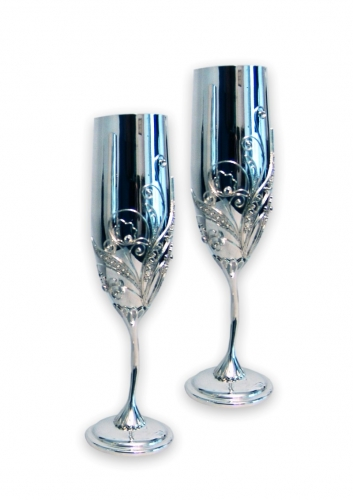 s-257.  <br>                       Tall wineglasses.  <br> 960 silver. 448 grams .     Natural  FIAN. 2 pieces, height 21 cm.
